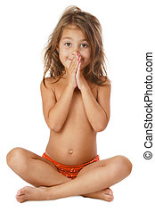 Funny - Little tanned girl with matted hair sitting...