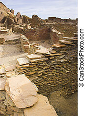 Chaco Culture - Ancient ruins of pre-historic Indian...