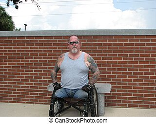 disabled vet in park - A Vietnam disabled vet enjoying the...