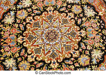 colorful carpet medallion - center of a persian carpet from...
