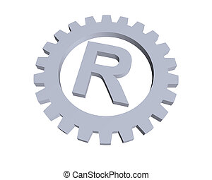 trademark - Registered trade mark symbol in gear wheel - 3d...