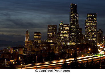 Downtown Seattle - A shot of downtown Seattle during rush...