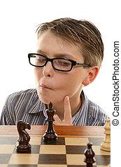 ajedrez, jugador, Analizar, luego, Movimiento