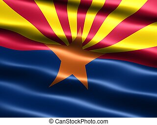 State flag Arizona - Computer generated illustration of the...