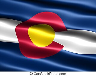 State flag of Colorado - Computer generated illustration of...