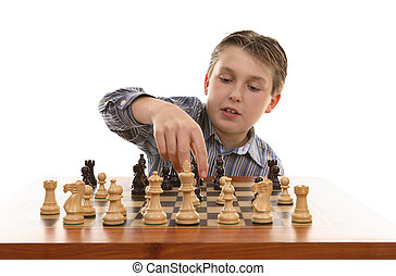 Chess move - Player moves a chess piece on the game board.