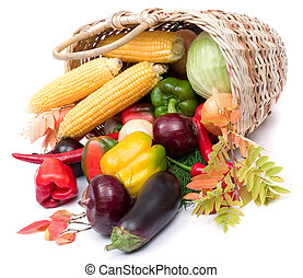 colorful vegetables in basket - lots of fresh and ripe...