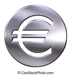 3D Silver Euro Currency
