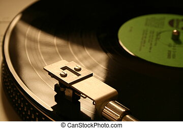 Record player - A record spinning on a record player with...