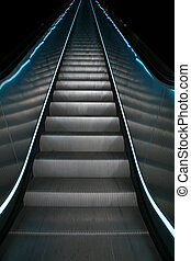 Escalator series - An escalator with white and blue stripes...
