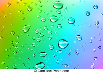 multicolored water drops, focus at the bottom