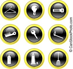 household icons - set of everyday household icons on black...