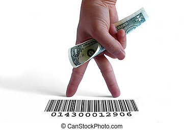 Consumer - Hand holding a dollar bill on a barcode