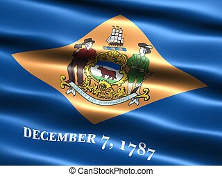 State flag: Delaware - Computer generated illustration of...