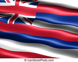 State flag: Hawaii - Computer generated illustration of the...
