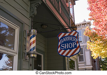 Classic Barber Shop - An old fashioned town barber shop with...