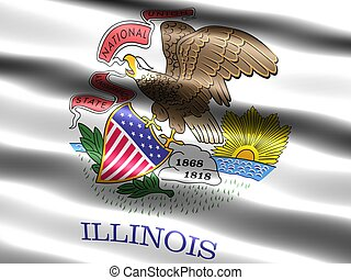 State flag: Illinois - Computer generated illustration of...