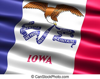 State flag: Iowa - Computer generated illustration of the...