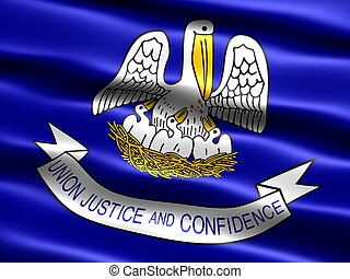 State flag: Louisiana - Computer generated illustration of...