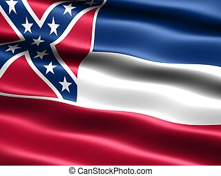 State flag: Mississippi - omputer generated illustration of...