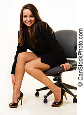 Sexy office girl - Attractive young brunette business woman...
