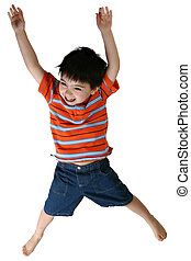 Boy Jumping - happy four year old boy jumping over white