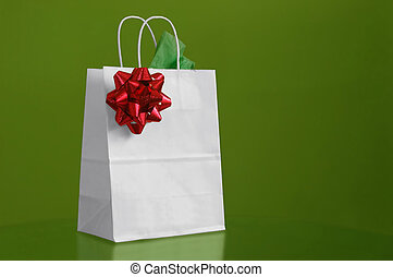 Christmas Bag - A christmas bag in green background
