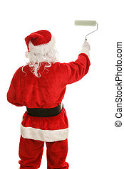 Santa with Paint Roller - Rear view of Santa Claus painting...