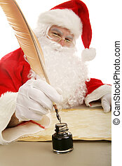 Santa Dips His Quill - Santa Claus dipping his old fashioned...