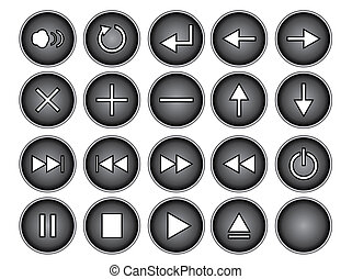 Black Buttons - An illustration of black round buttons...