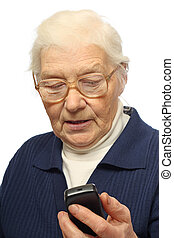 Senior woman with cellphone - Senior woman with mobile...