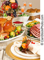 Place setting - Thanksgiving dinner with roast turkey