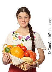 menina, legumes