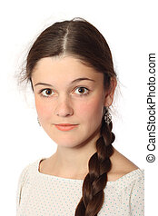Young girl in white blouse, isolated on white background