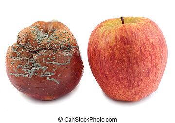 Two apples - Fresh red apple and rotten apple, isolated on...