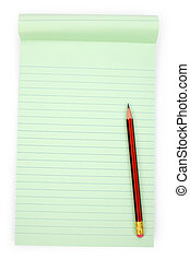 Green notepaper - Green note paper with white background