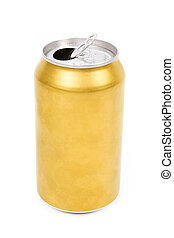 yellow can - a yellow beer can with white background