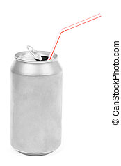 silver soda can - a silver soda can with white background
