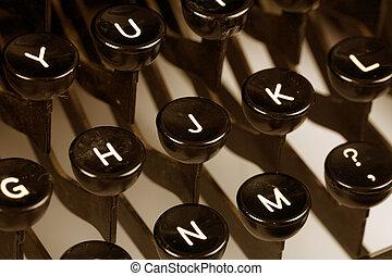 Typewriter keyboard close up shot