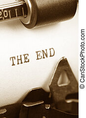 the end - Typewriter close up shot, concept of the end