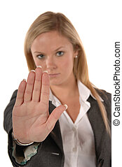STOP right there - Blond women in business clothing with...