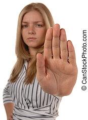 negócio, mulheres, mão, cima, dizendo, parada
