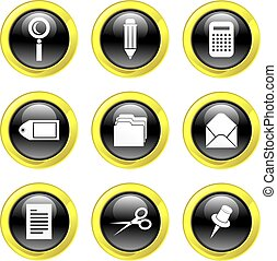 office icons - set of office related objects isolated on...
