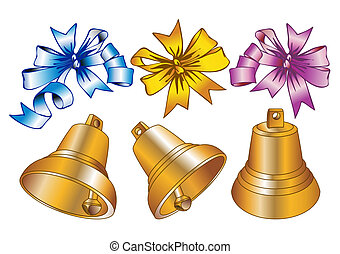 Christmas bells - Set of christmas bells and bows in...