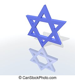 a blue star of David - a 3d rendering of a blue star of...