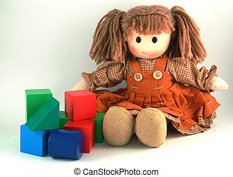 Rag Doll and bricks - Colorful puppet doll and color  bricks
