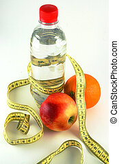 Healthy weight loss - mineral water, strap, orange. Healthy...