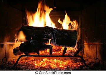 Fireplace - Logs burning in a fireplace