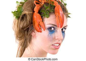 Seacreatures - Beautiful woman with her hair covered with a...