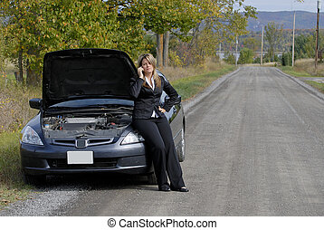 Car Trouble - Businesswoman Sat On Her Broken Down...